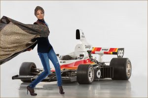 race car with with fashion model