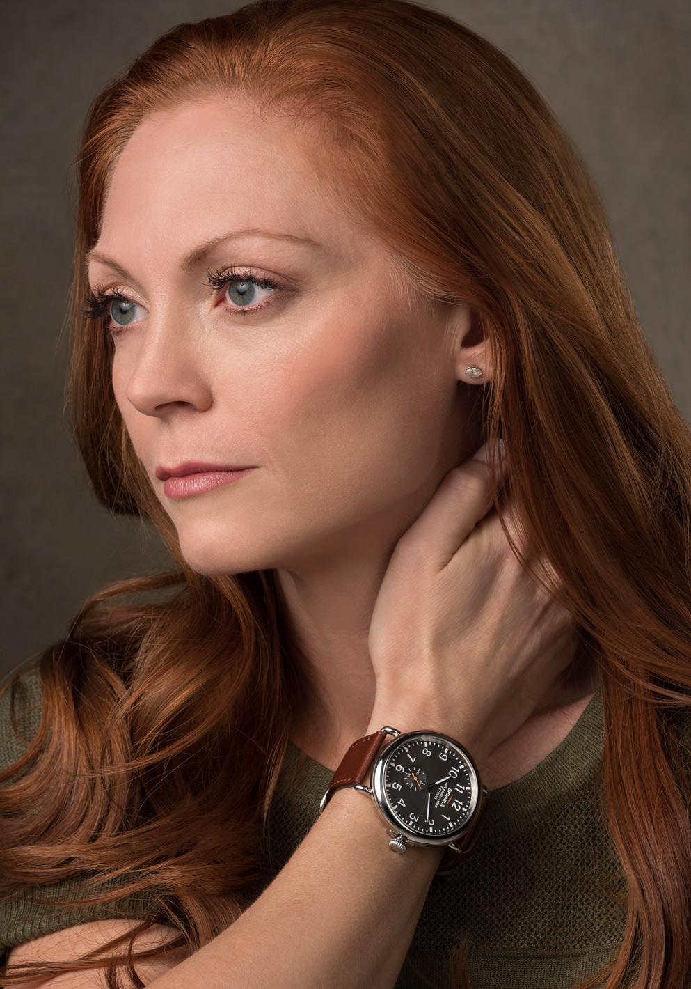 fashion model wearing a shinola watch