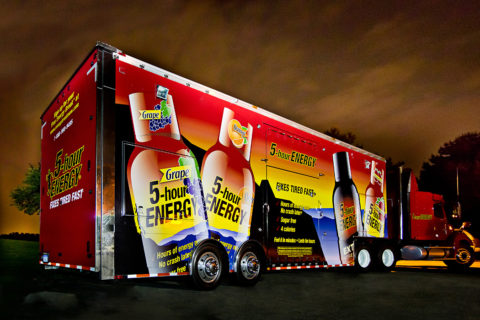 photo of semi truck for advertising marketing