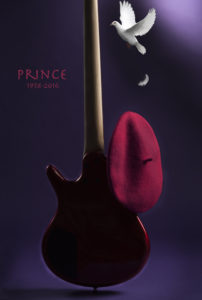 photo of guitar and dove for a Prince tribute