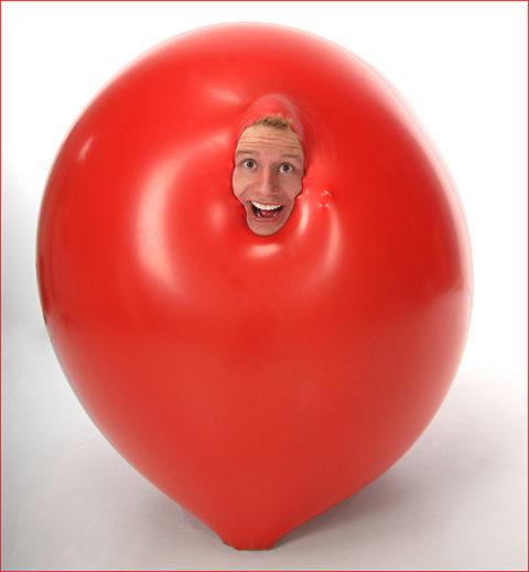 magician photograph in a balloon