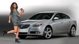 new car with fashion model in photo studio