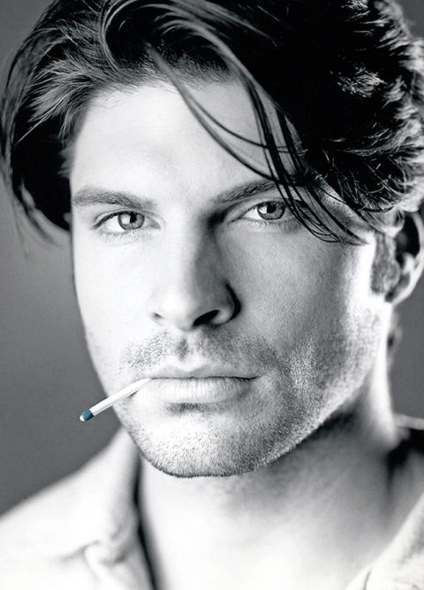 black and white picture of male model