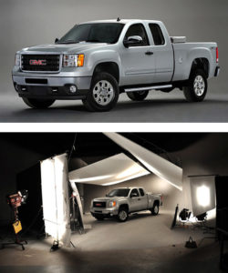 car photography in studio for gmc trucks