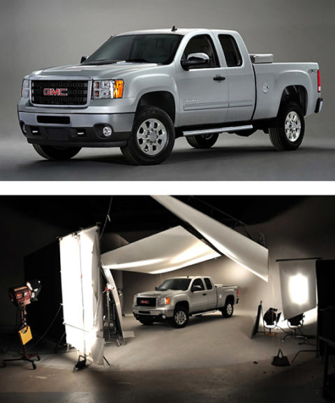 car photography in studio for gmc trucks