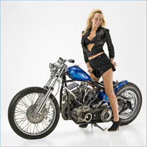motorcycle and fashion model for magazine cover