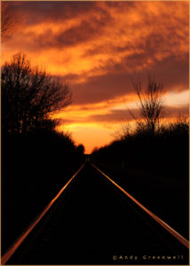 sunset and railroad tracks poster photography