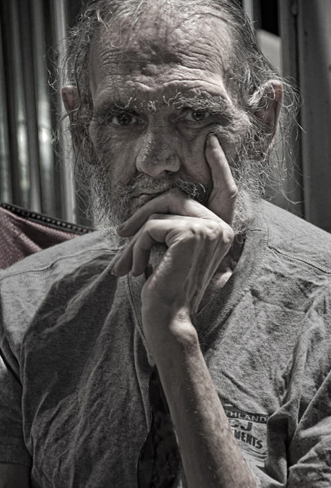 this is street photography of an old man