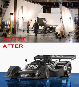 race car in a warehouse converted to a photo studio