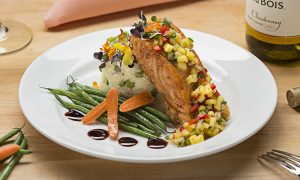 salmon entree for a restaurant menu