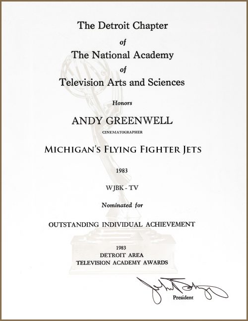 Outstanding Individual Achievement Emmy Nomination For Michigan's Flying Fighter Jets