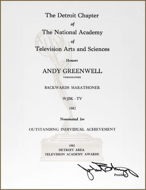 Outstanding Individual Achievement Emmy Nomination for Backwards Marathoner