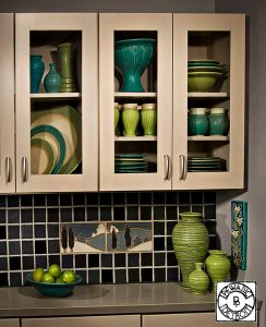 Pewabic cabinets and pottery