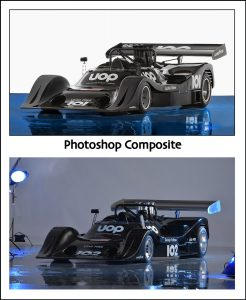 race car in photography studio