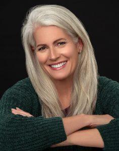 mature woman headshot portrait silver hair