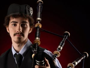 headshot of bagpipes high school senior pictures