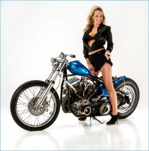 professional model with motorcycle magazine cover
